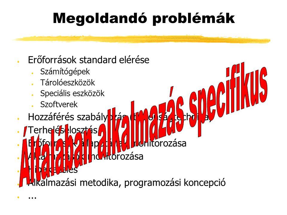 Megoldandó problémák ● Erőforrások standard elérése ● Számítógépek ● Tárolóeszközök ● Speciális eszközök ● Szoftverek ● Hozzáférés szabályozás (biztonságtechnika) ● Terheléselosztás ● Erőforrások állapotának monitorozása ● Alkalmazások monitorozása ● Hibakezelés ● Alkalmazási metodika, programozási koncepció ●...