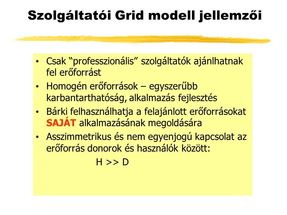Szolgáltatói Grid modell jellemzői Csak professzionális szolgáltatók ajánlhatnak fel erőforrást Homogén erőforrások – egyszerűbb karbantarthatóság, alkalmazás fejlesztés Bárki felhasználhatja a felajánlott erőforrásokat SAJÁT alkalmazásának megoldására Asszimmetrikus és nem egyenjogú kapcsolat az erőforrás donorok és használók között: H >> D