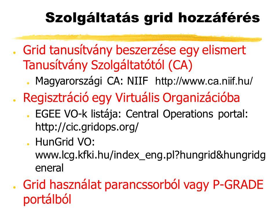 Szolgáltatás grid hozzáférés ● Grid tanusítvány beszerzése egy elismert Tanusítvány Szolgáltatótól (CA) ● Magyarországi CA: NIIF http://www.ca.niif.hu/ ● Regisztráció egy Virtuális Organizációba ● EGEE VO-k listája: Central Operations portal: http://cic.gridops.org/ ● HunGrid VO: www.lcg.kfki.hu/index_eng.pl hungrid&hungridg eneral ● Grid használat parancssorból vagy P-GRADE portálból