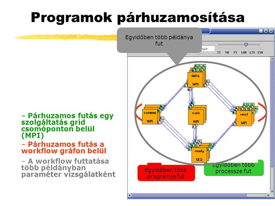 Programok párhuzamosítása Egyidőben több processze fut – Párhuzamos futás egy szolgáltatás grid csomóponton belül (MPI) – Párhuzamos futás a workflow gráfon belül Egyidőben több programja fut – A workflow futtatása több példányban paraméter vizsgálatként Egyidőben több példánya fut