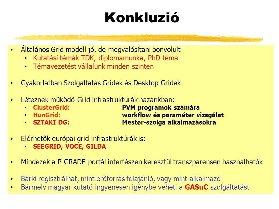 Konkluzió Általános Grid modell jó, de megvalósítani bonyolult Kutatási témák TDK, diplomamunka, PhD téma Témavezetést vállalunk minden szinten Gyakorlatban Szolgáltatás Gridek és Desktop Gridek Léteznek működő Grid infrastruktúrák hazánkban: ClusterGrid: PVM programok számára HunGrid: workflow és paraméter vizsgálat SZTAKI DG: Mester-szolga alkalmazásokra Elérhetők európai grid infrastruktúrák is: SEEGRID, VOCE, GILDA Mindezek a P-GRADE portál interfészen keresztül transzparensen használhatók Bárki regisztrálhat, mint erőforrás felajánló, vagy mint alkalmazó Bármely magyar kutató ingyenesen igénybe veheti a GASuC szolgáltatást