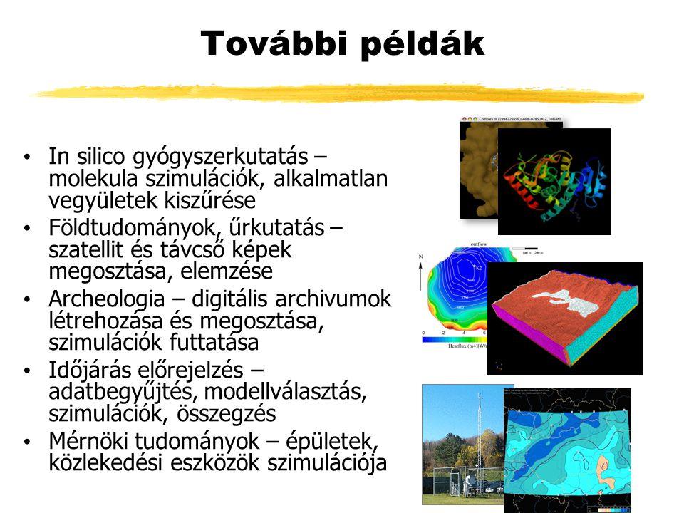 További példák In silico gyógyszerkutatás – molekula szimulációk, alkalmatlan vegyületek kiszűrése Földtudományok, űrkutatás – szatellit és távcső képek megosztása, elemzése Archeologia – digitális archivumok létrehozása és megosztása, szimulációk futtatása Időjárás előrejelzés – adatbegyűjtés, modellválasztás, szimulációk, összegzés Mérnöki tudományok – épületek, közlekedési eszközök szimulációja