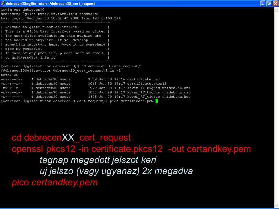 Trükkök SEEGRID tudásbázis: –http://wiki.egee-see.org/index.php/SEE-GRID_Wikihttp://wiki.egee-see.org/index.php/SEE-GRID_Wiki Szerverek és szolgáltatások: http://wiki.egee-see.org/index.php/SEE-GRID_Wiki#Core_Services Information system portlet: SE-k, CE-k listája File manager portlet: LFN katalógus gép neve; Nincs központi User Interface gép –SZTAKI rövidesen felállít  Fenti weblap frissül –Kód forditó job Portálon át beküldve Job futtatható állománya script ami CE-n fordítót indít Job input fájlja a forrás fájl(ok) Job output fájlja a lefordított, futtatható program