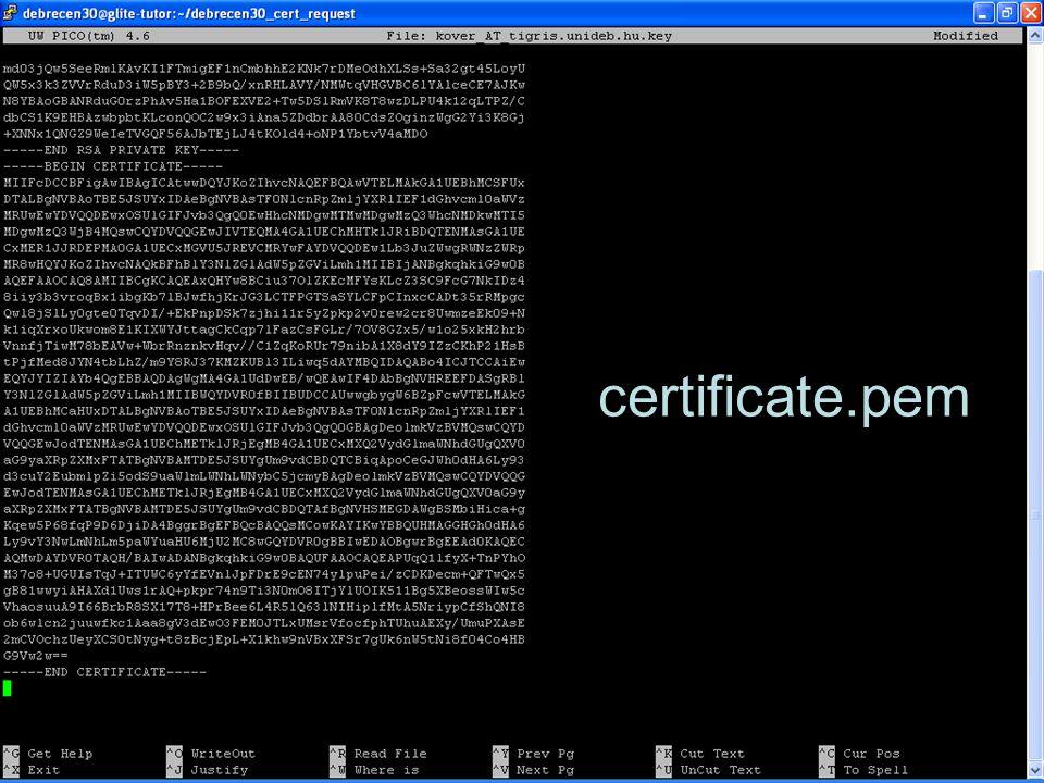 Következő lépések 1 Tanusítvány fájlok (összes verzió) USB-n legyen meg –Letörölni minden ilyen fájlt glite-tutor.ct.infn.it-ről –Kitörölni a böngészőből –Letörölni a helyi gépről (Desktop?) SEEGRID használat saját tanusítvánnyal Portálon át  MyProxy download SEEGRID használat parancssorból –Nincs központi SEEGRID User Interfész gép –Saját gLite UI installálását igényli –SZTAKI rövidesen felállít egy központi UI-t