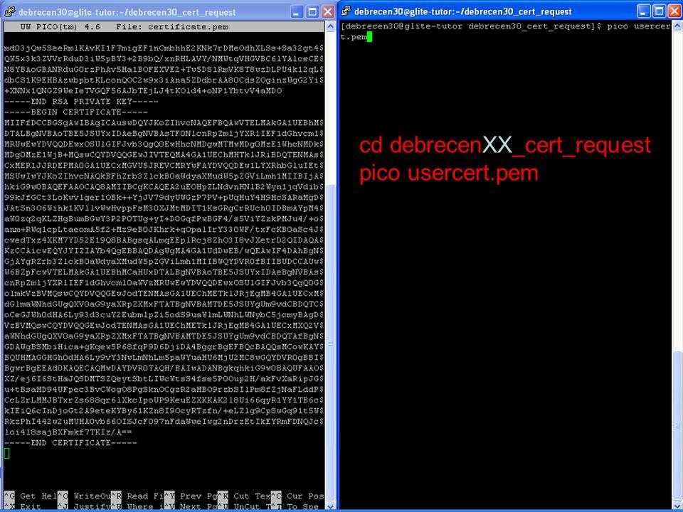 Mire emlékezzünk Saját P-GRADE Portal név és jelszó –http://portal.p-grade.hu/multi-gridhttp://portal.p-grade.hu/multi-grid Saját SEEGRID MyProxy név és jelszó –myproxy.grid.auth.gr –7512 Saját tanusítvány fájlok –usercert.pem és userkey.pem  parancssori eléréshez –MyProxy adatok: Portalbol eleres
