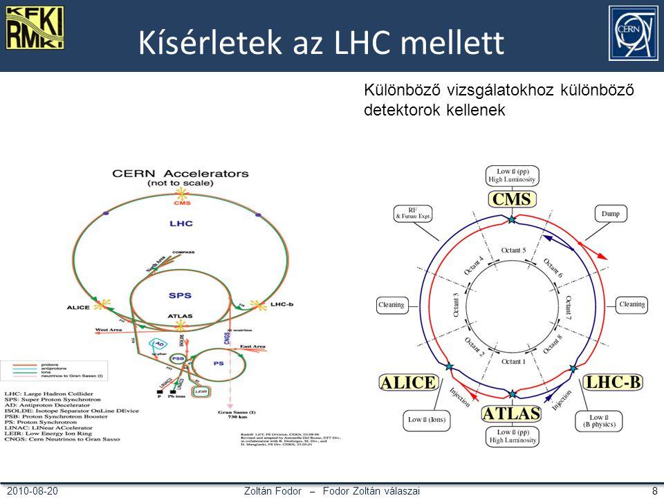 Zoltán Fodor – Fodor Zoltán válaszai 82010-08-20 Kísérletek az LHC mellett Különböző vizsgálatokhoz különböző detektorok kellenek