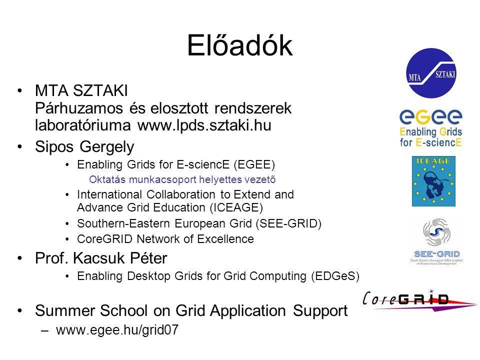 Előadók MTA SZTAKI Párhuzamos és elosztott rendszerek laboratóriuma www.lpds.sztaki.hu Sipos Gergely Enabling Grids for E-sciencE (EGEE) Oktatás munkacsoport helyettes vezető International Collaboration to Extend and Advance Grid Education (ICEAGE) Southern-Eastern European Grid (SEE-GRID) CoreGRID Network of Excellence Prof.