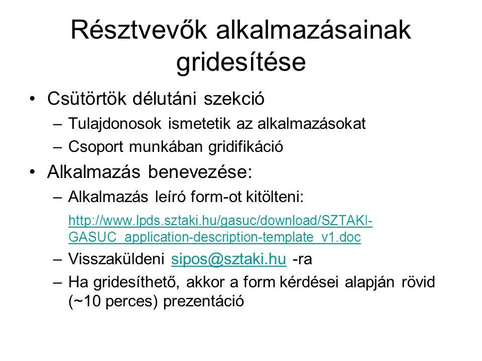 Csütörtök délutáni szekció –Tulajdonosok ismetetik az alkalmazásokat –Csoport munkában gridifikáció Alkalmazás benevezése: –Alkalmazás leíró form-ot kitölteni: http://www.lpds.sztaki.hu/gasuc/download/SZTAKI- GASUC_application-description-template_v1.doc –Visszaküldeni sipos@sztaki.hu -rasipos@sztaki.hu –Ha gridesíthető, akkor a form kérdései alapján rövid (~10 perces) prezentáció