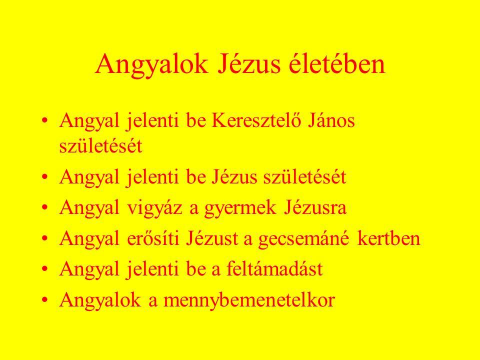Angyalok Jézus életében Angyal jelenti be Keresztelő János születését Angyal jelenti be Jézus születését Angyal vigyáz a gyermek Jézusra Angyal erősíti Jézust a gecsemáné kertben Angyal jelenti be a feltámadást Angyalok a mennybemenetelkor