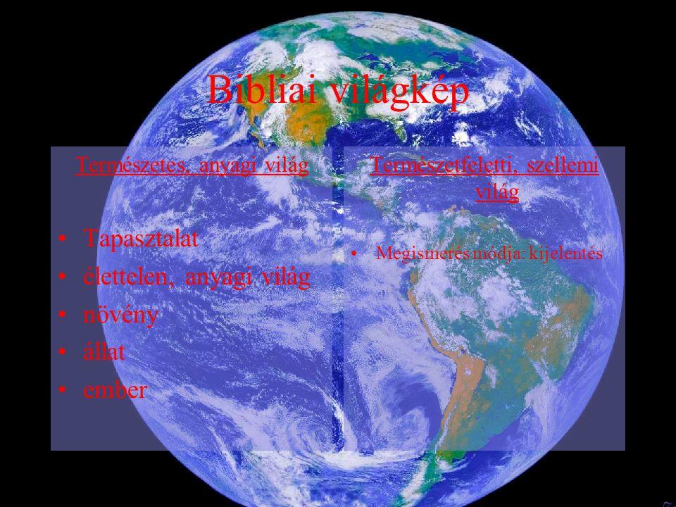 Bibliai világkép Természetes, anyagi világ Tapasztalat élettelen, anyagi világ növény állat ember Természetfeletti, szellemi világ Megismerés módja: k