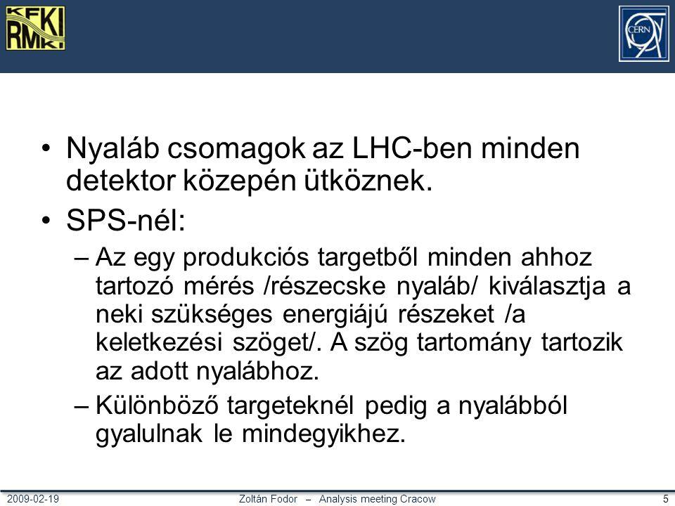 Zoltán Fodor – Analysis meeting Cracow 52009-02-19 Nyaláb csomagok az LHC-ben minden detektor közepén ütköznek. SPS-nél: –Az egy produkciós targetből
