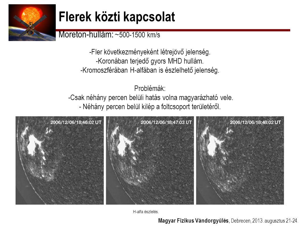 Flerek közti kapcsolat Magyar Fizikus Vándorgyűlés, Debrecen, 2013. augusztus 21-24. Moreton-hullám: ~ 500-1500 km/s -Fler következményeként létrejövő