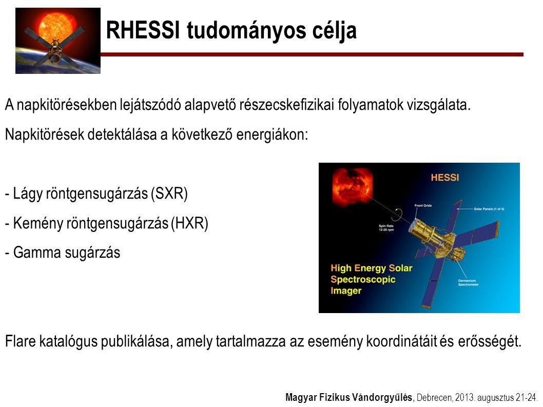 RHESSI észlelések Magyar Fizikus Vándorgyűlés, Debrecen, 2013.