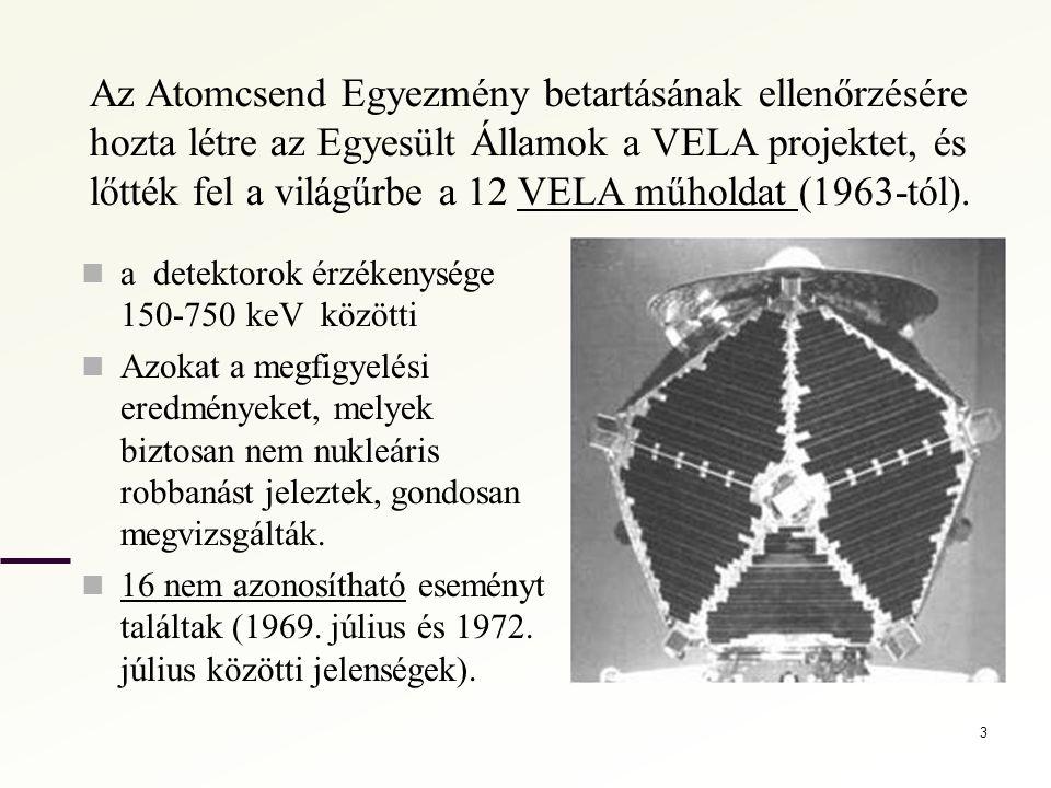 Az Atomcsend Egyezmény betartásának ellenőrzésére hozta létre az Egyesült Államok a VELA projektet, és lőtték fel a világűrbe a 12 VELA műholdat (1963