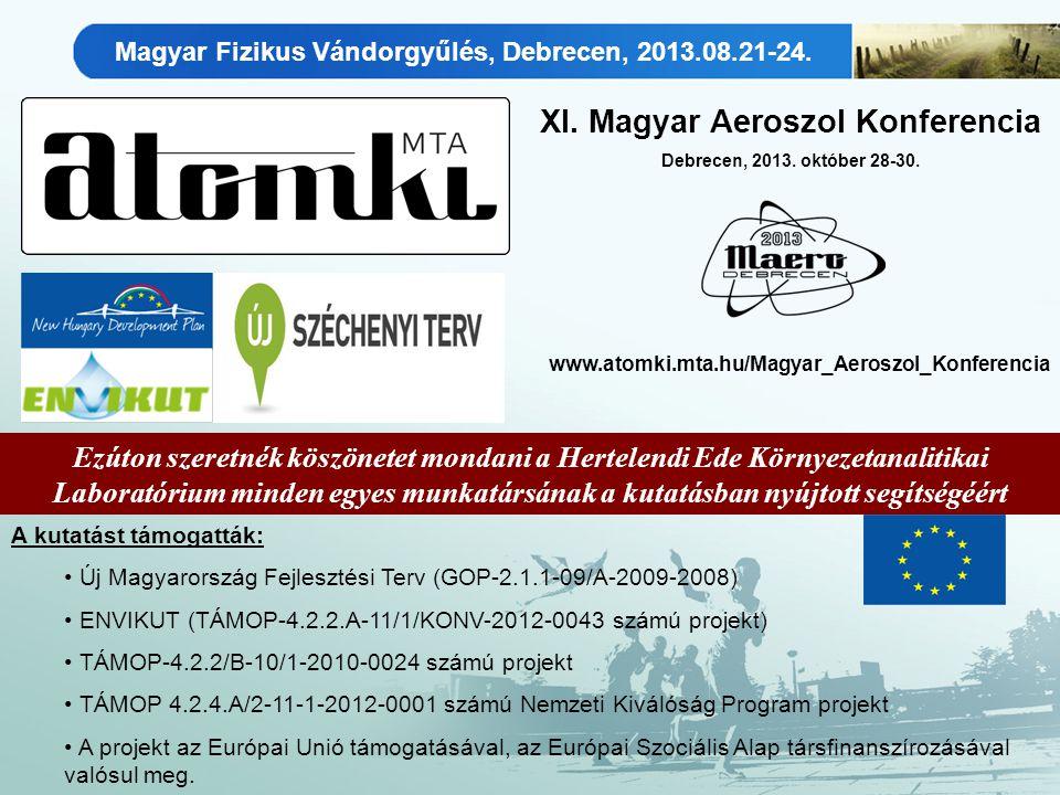 Ezúton szeretnék köszönetet mondani a Hertelendi Ede Környezetanalitikai Laboratórium minden egyes munkatársának a kutatásban nyújtott segítségéért A kutatást támogatták: Új Magyarország Fejlesztési Terv (GOP-2.1.1-09/A-2009-2008) ENVIKUT (TÁMOP-4.2.2.A-11/1/KONV-2012-0043 számú projekt) TÁMOP-4.2.2/B-10/1-2010-0024 számú projekt TÁMOP 4.2.4.A/2-11-1-2012-0001 számú Nemzeti Kiválóság Program projekt A projekt az Európai Unió támogatásával, az Európai Szociális Alap társfinanszírozásával valósul meg.