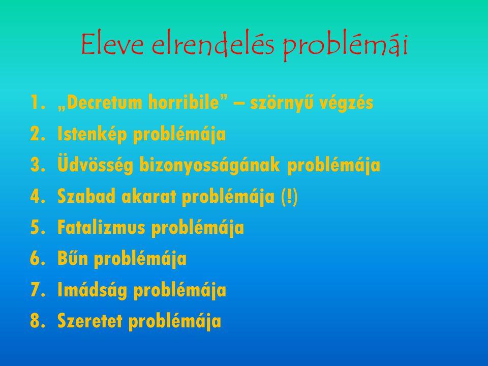 """Eleve elrendelés problémái 1.""""Decretum horribile"""" – szörnyű végzés 2.Istenkép problémája 3.Üdvösség bizonyosságának problémája 4.Szabad akarat problém"""