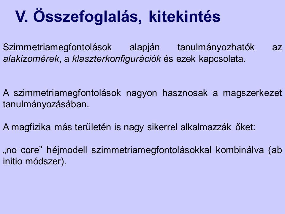 V. Összefoglalás, kitekintés Szimmetriamegfontolások alapján tanulmányozhatók az alakizomérek, a klaszterkonfigurációk és ezek kapcsolata. A szimmetri