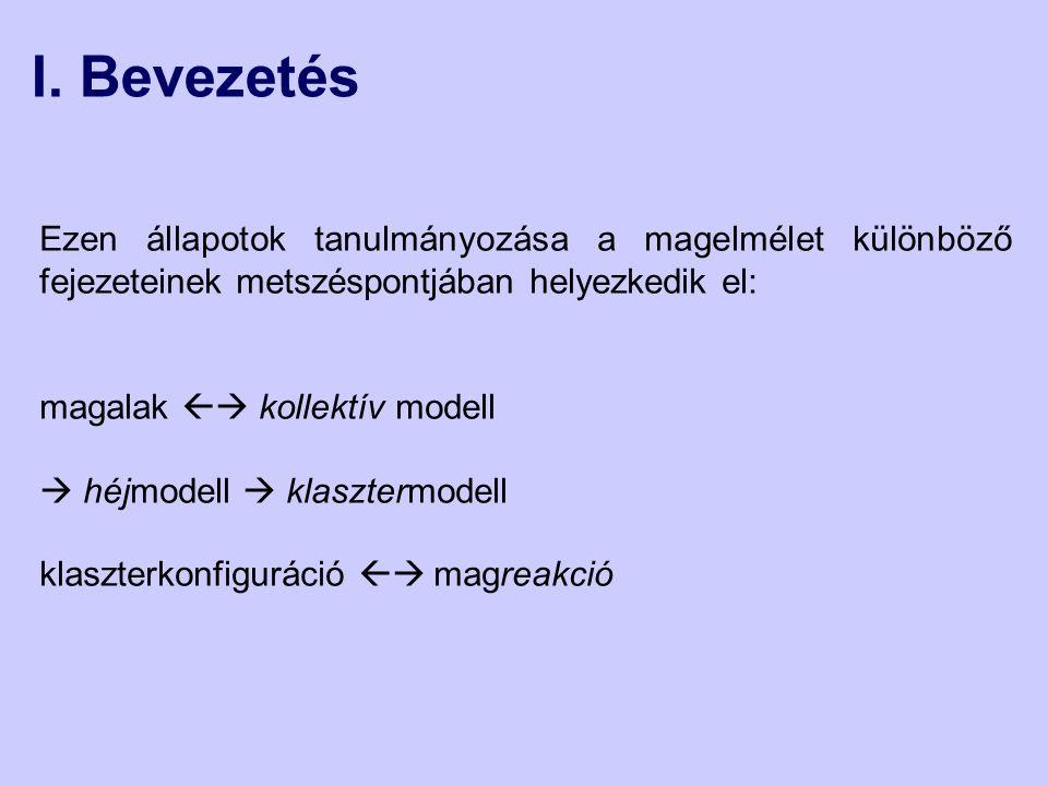 I. Bevezetés Ezen állapotok tanulmányozása a magelmélet különböző fejezeteinek metszéspontjában helyezkedik el: magalak  kollektív modell  héjmodel
