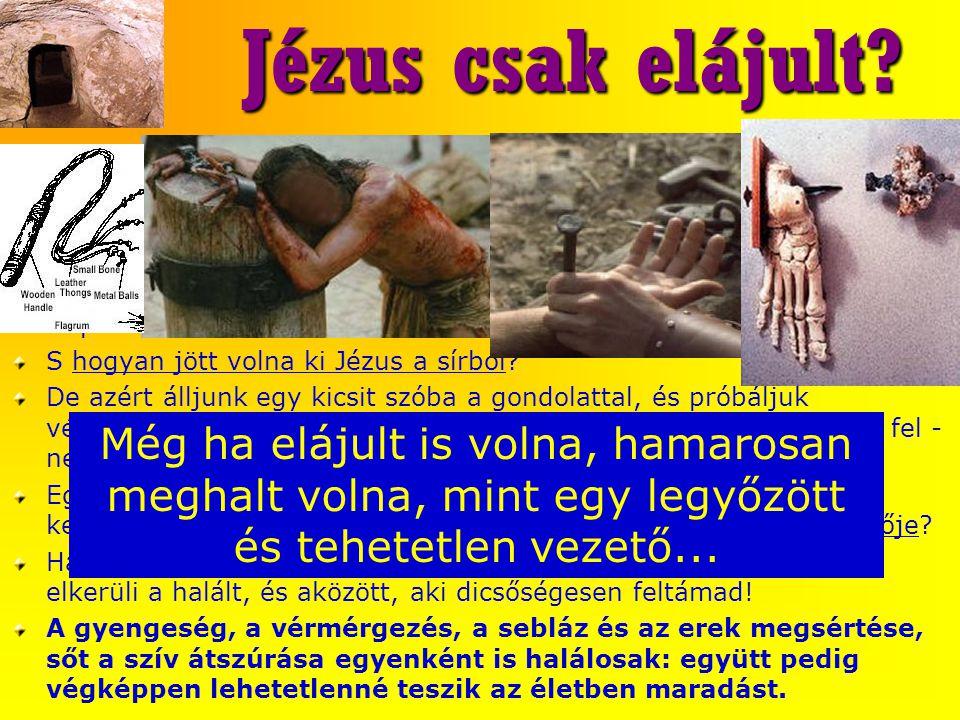 Jézus csak elájult? Jézus csak elájult? A Venturini által évszázadokkal ezelőtt népszerűsített ájuláselmélet A zsidó vezetők és azok emberei: aligha e