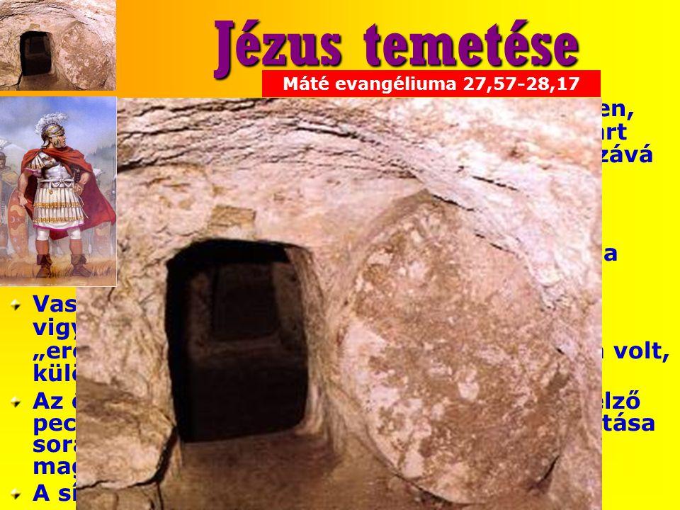 Jézus temetése Jézus testét, a zsidó szokásoknak megfelelően, lenvászonba burkolták. A holttest köré csavart lepedőbe mintegy 54 kg(!), gumiszerű mass