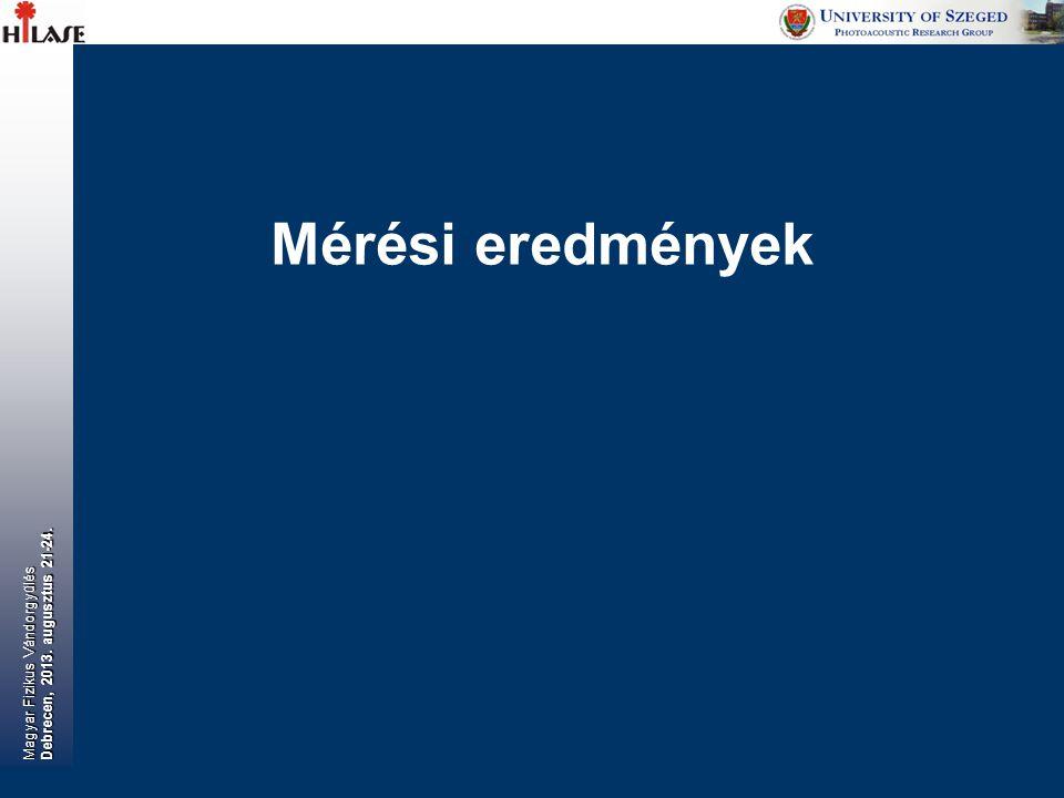 Magyar Fizikus Vándorgyűlés Debrecen, 2013. augusztus 21-24. Mérési eredmények