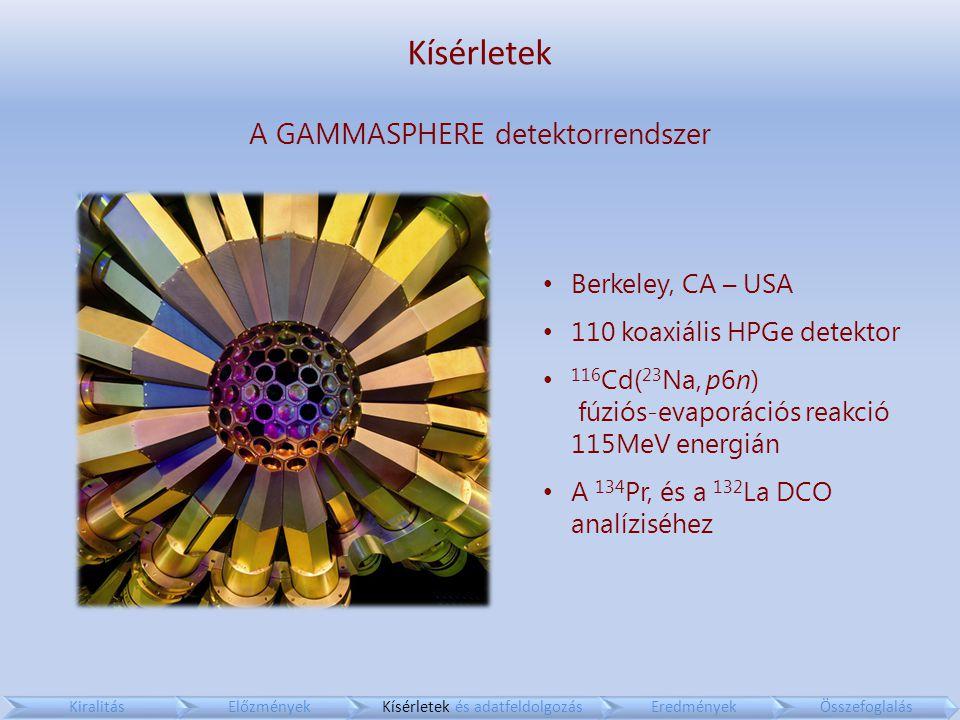 Kísérletek A GAMMASPHERE detektorrendszer Berkeley, CA – USA 110 koaxiális HPGe detektor 116 Cd( 23 Na, p6n) fúziós-evaporációs reakció 115MeV energián A 134 Pr, és a 132 La DCO analíziséhez KiralitásElőzményekKísérletek és adatfeldolgozásEredményekÖsszefoglalás