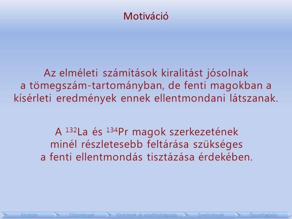 Motiváció KiralitásElőzményekKísérletek és adatfeldolgozásEredményekÖsszefoglalás A 132 La és 134 Pr magok szerkezetének minél részletesebb feltárása szükséges a fenti ellentmondás tisztázása érdekében.