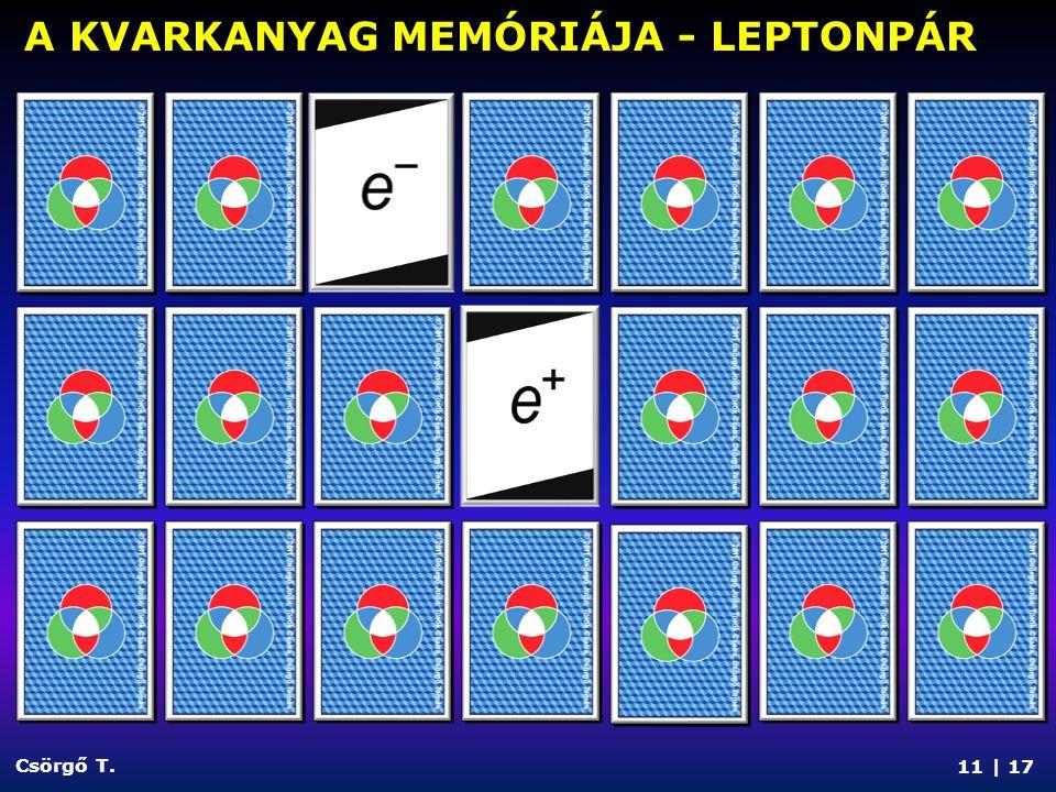 11 | 17 Csörgő T. A KVARKANYAG MEMÓRIÁJA - LEPTONPÁR