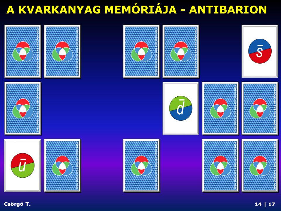 14 | 17 Csörgő T. A KVARKANYAG MEMÓRIÁJA - ANTIBARION