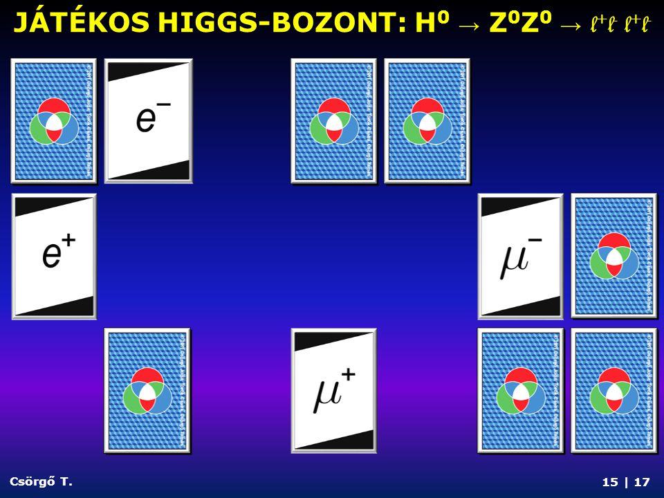 JÁTÉKOS HIGGS-BOZONT: H 0 → Z 0 Z 0 → l + l - l + l - 15 | 17 Csörgő T.