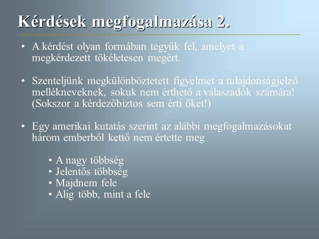 Kérdések megfogalmazása 2. A kérdést olyan formában tegyük fel, amelyet a megkérdezett tökéletesen megért. Szenteljünk megkülönböztetett figyelmet a t