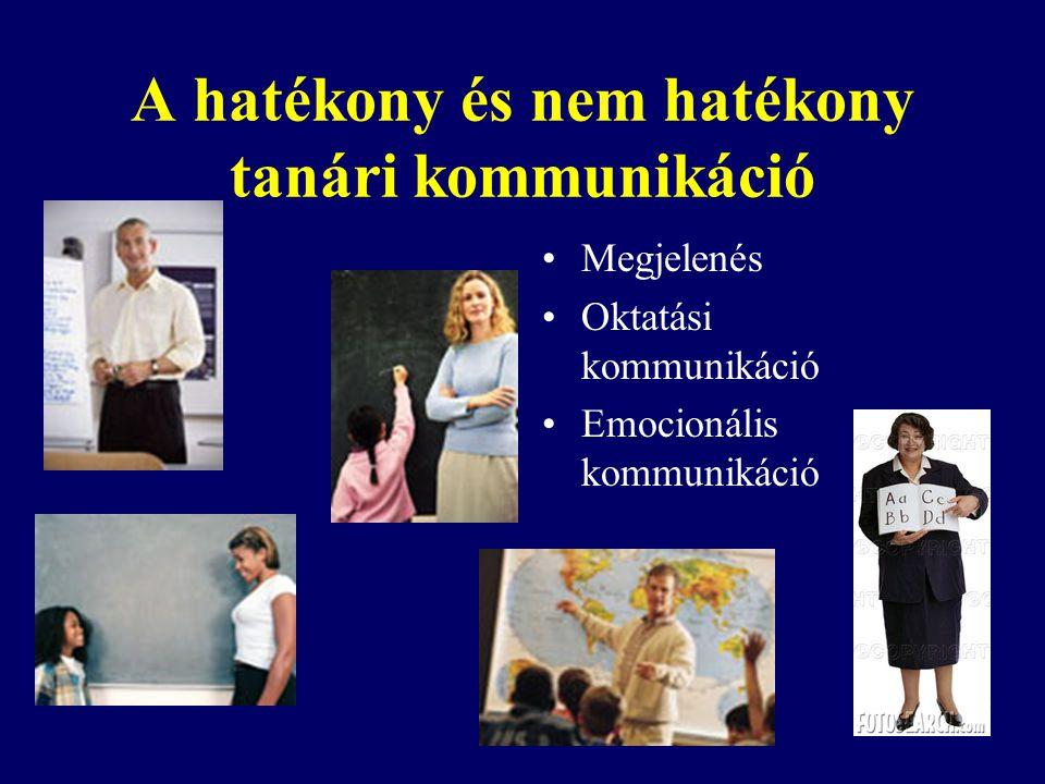 A hatékony és nem hatékony tanári kommunikáció Megjelenés Oktatási kommunikáció Emocionális kommunikáció