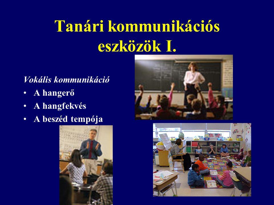 Tanári kommunikációs eszközök I. Vokális kommunikáció A hangerő A hangfekvés A beszéd tempója