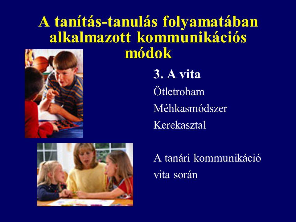 A tanítás-tanulás folyamatában alkalmazott kommunikációs módok 3. A vita Ötletroham Méhkasmódszer Kerekasztal A tanári kommunikáció vita során
