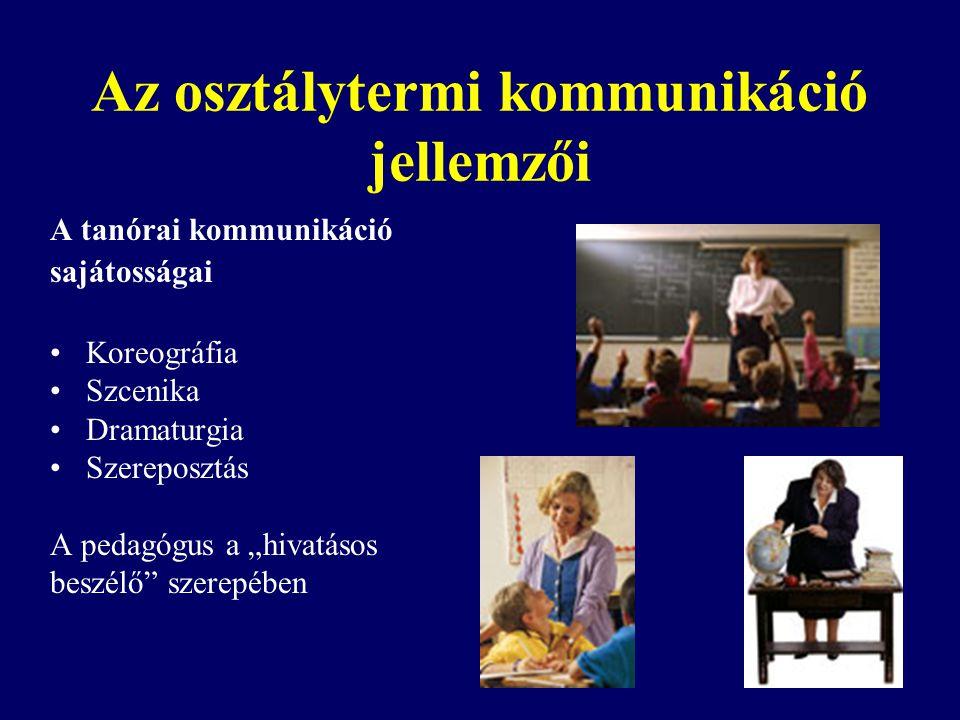 """Az osztálytermi kommunikáció jellemzői A tanórai kommunikáció sajátosságai Koreográfia Szcenika Dramaturgia Szereposztás A pedagógus a """"hivatásos beszélő szerepében"""