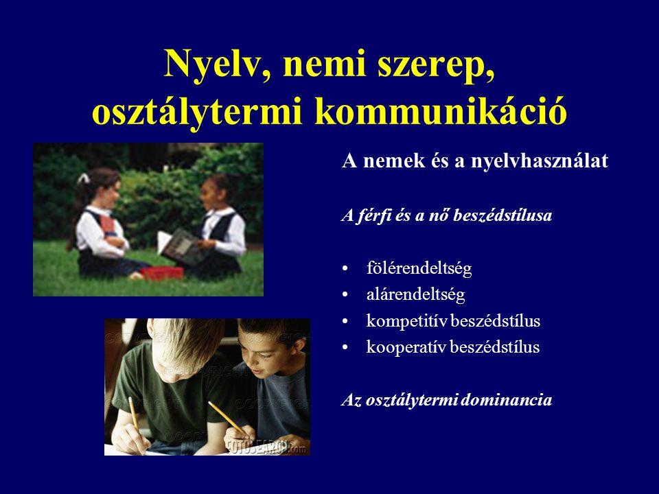 Nyelv, nemi szerep, osztálytermi kommunikáció A nemek és a nyelvhasználat A férfi és a nő beszédstílusa fölérendeltség alárendeltség kompetitív beszéd