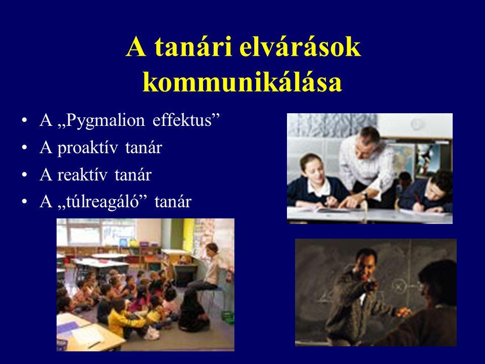 """A tanári elvárások kommunikálása A """"Pygmalion effektus"""" A proaktív tanár A reaktív tanár A """"túlreagáló"""" tanár"""
