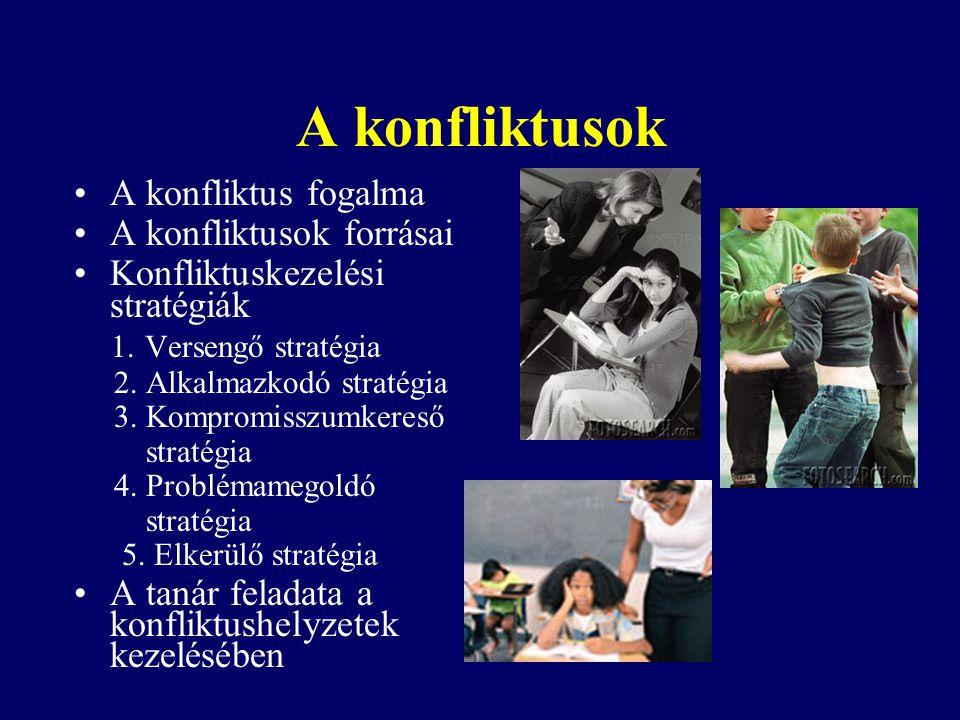 A konfliktusok A konfliktus fogalma A konfliktusok forrásai Konfliktuskezelési stratégiák 1. Versengő stratégia 2. Alkalmazkodó stratégia 3. Kompromis