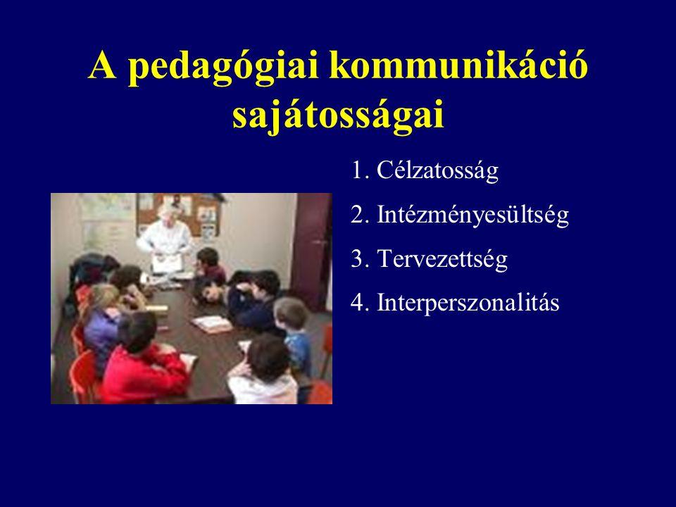 A pedagógiai kommunikáció sajátosságai 1. Célzatosság 2. Intézményesültség 3. Tervezettség 4. Interperszonalitás