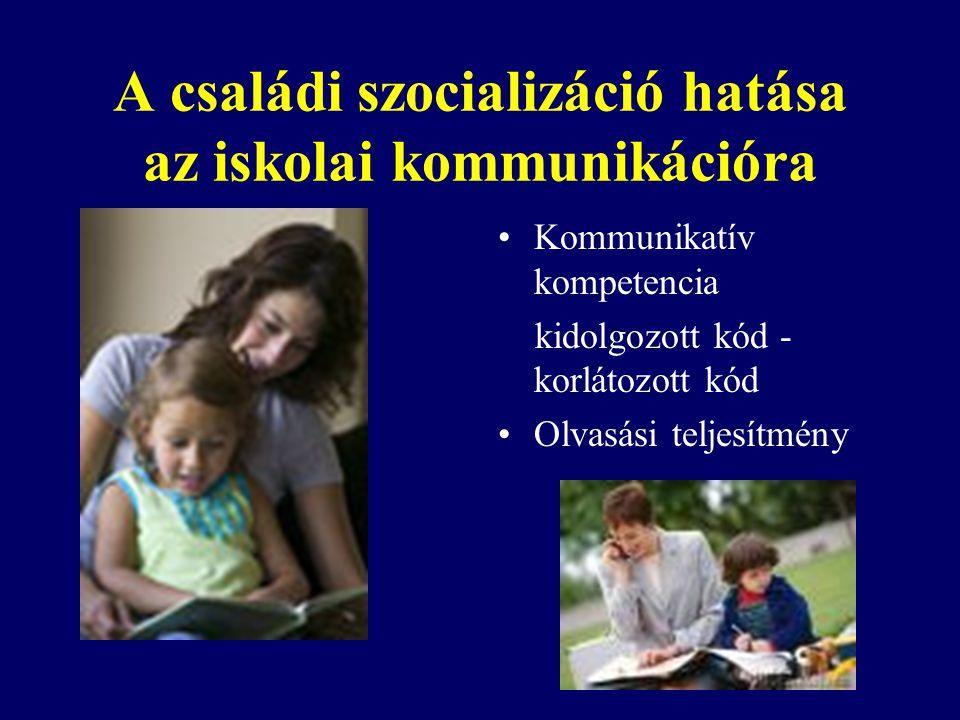 A családi szocializáció hatása az iskolai kommunikációra Kommunikatív kompetencia kidolgozott kód - korlátozott kód Olvasási teljesítmény