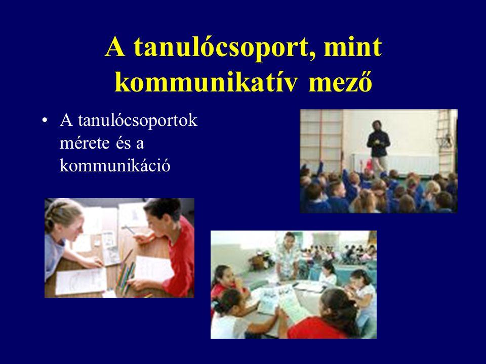 A tanulócsoport, mint kommunikatív mező A tanulócsoportok mérete és a kommunikáció