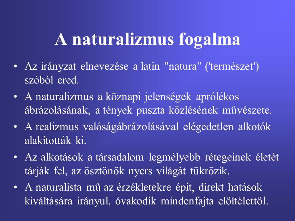 A naturalizmus fogalma Az irányzat elnevezése a latin