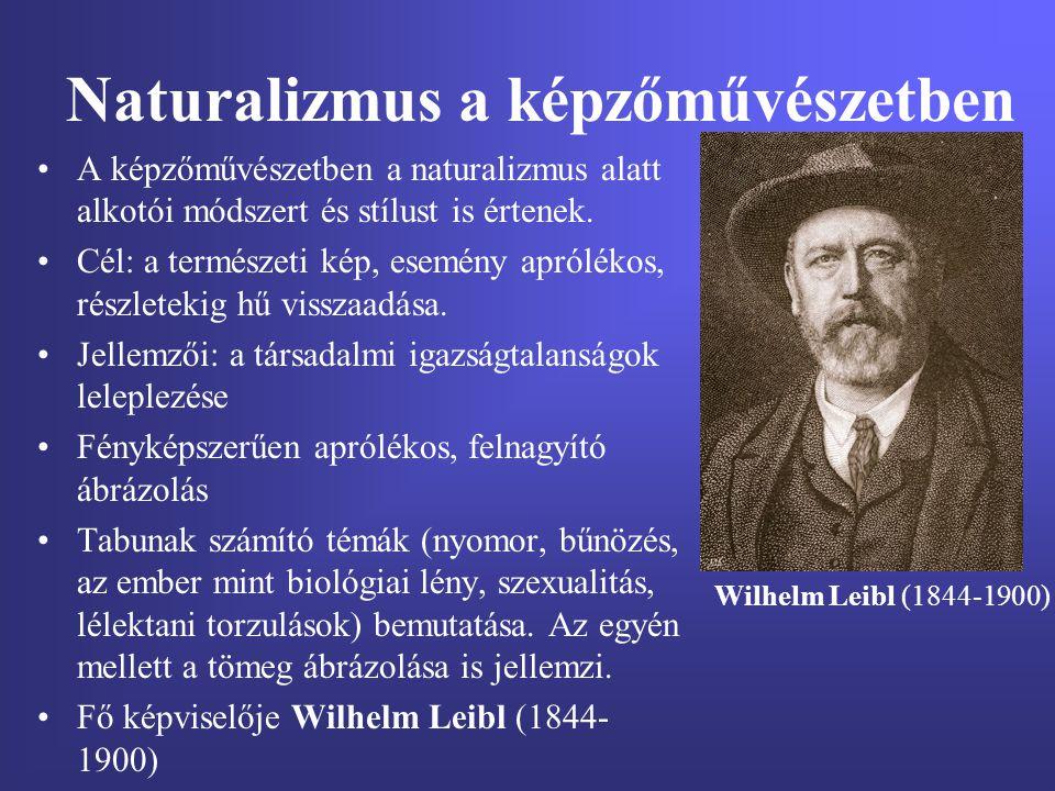 Naturalizmus a képzőművészetben A képzőművészetben a naturalizmus alatt alkotói módszert és stílust is értenek. Cél: a természeti kép, esemény aprólék