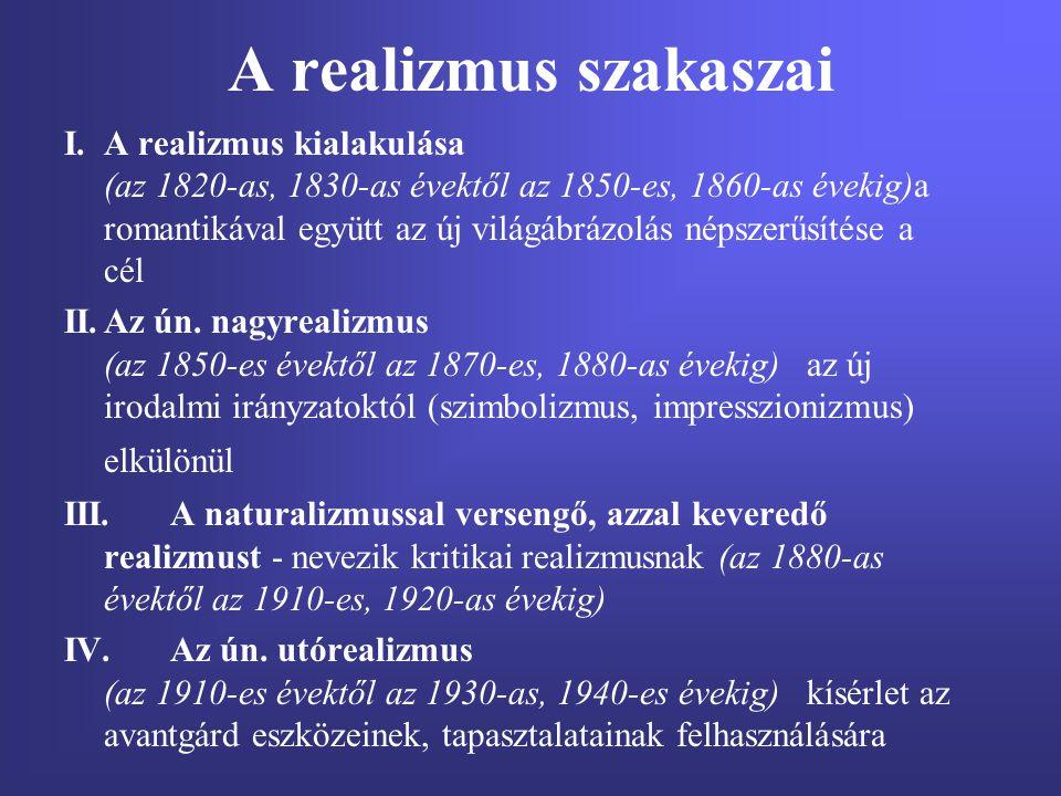 A realizmus szakaszai I.A realizmus kialakulása (az 1820-as, 1830-as évektől az 1850-es, 1860-as évekig)a romantikával együtt az új világábrázolás nép