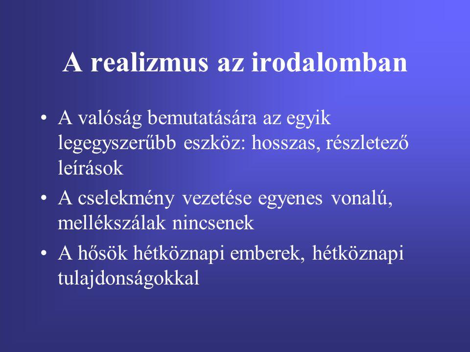 A legjelentősebb realista írók Franciák: Stendhal, Balzac Angolok: Dickens Thackeray Oroszok:Gogol, Tolsztoj, Dosztojevszkij,Csehov Német: Thomas Mann Amerikai: Hemingway BalzacStendhal ThackerayDickens Gogol Tolsztoj Dosztojevszkij Thomas Mann Hemingway Csehov