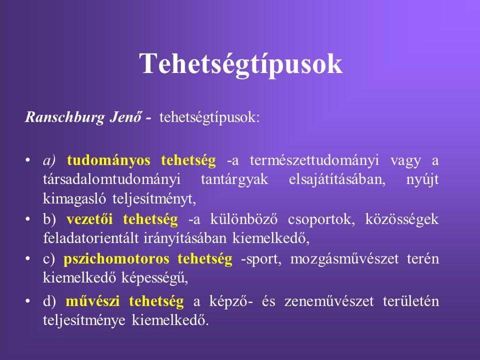 Tehetségtípusok Ranschburg Jenő - tehetségtípusok: a) tudományos tehetség -a természettudományi vagy a társadalomtudományi tantárgyak elsajátításában,