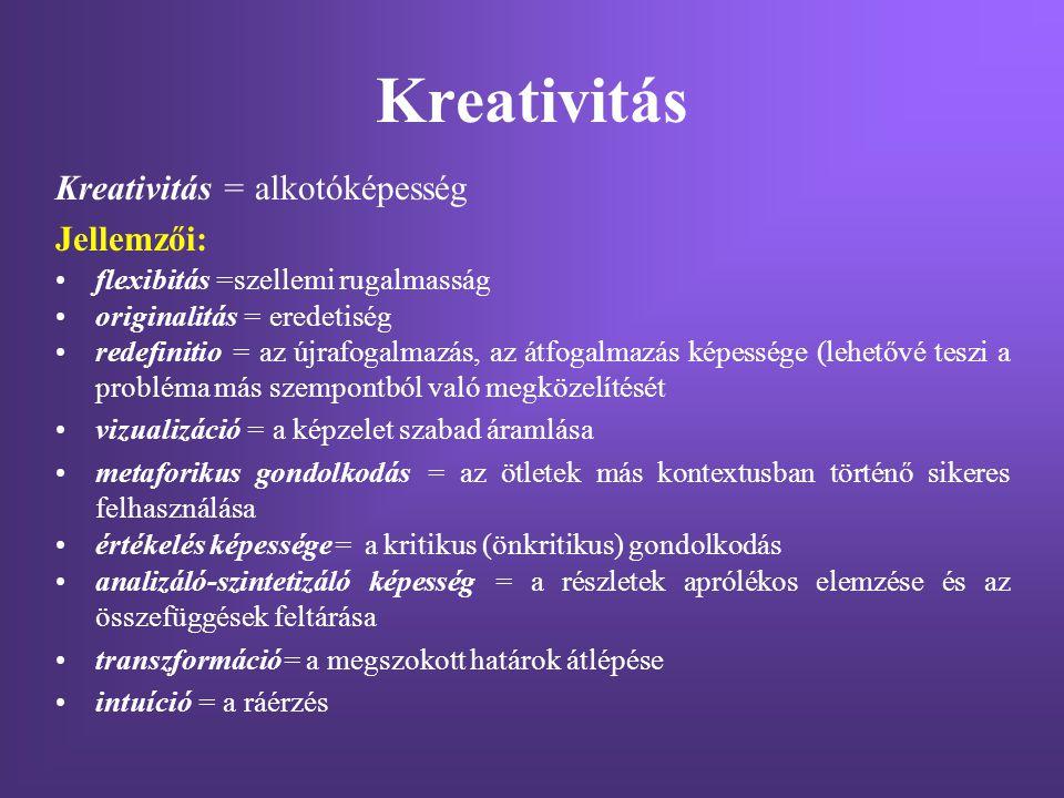 Kreativitás Kreativitás = alkotóképesség Jellemzői: flexibitás =szellemi rugalmasság originalitás = eredetiség redefinitio = az újrafogalmazás, az átf