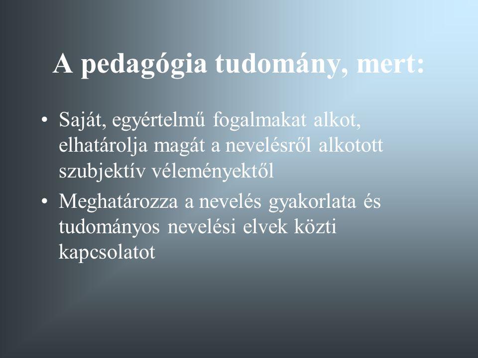 A pedagógia tárgya A nevelés valósága Ennek vizsgálatakor a következő összefüggésekre kell tekintettel lenni: A nevelés mindig két ember között megy végbe.