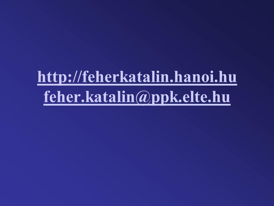http://feherkatalin.hanoi.hu feher.katalin@ppk.elte.hu