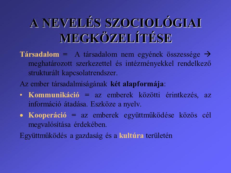 A NEVELÉS SZOCIOLÓGIAI MEGKÖZELÍTÉSE Társadalom = A társadalom nem egyének összessége  meghatározott szerkezettel és intézményekkel rendelkező strukt